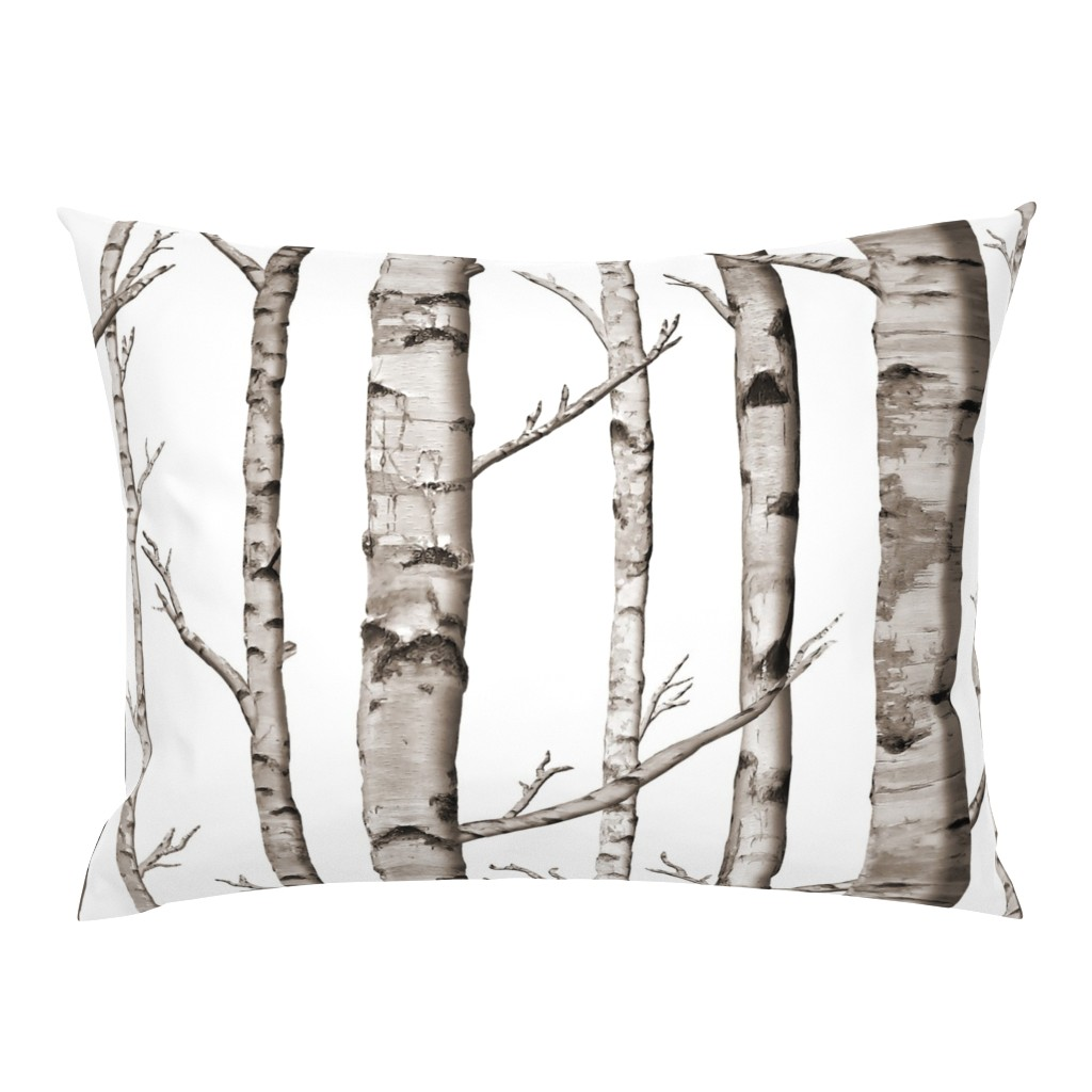 Campine Pillow Sham featuring Birch Forest in Black and White by willowlanetextiles