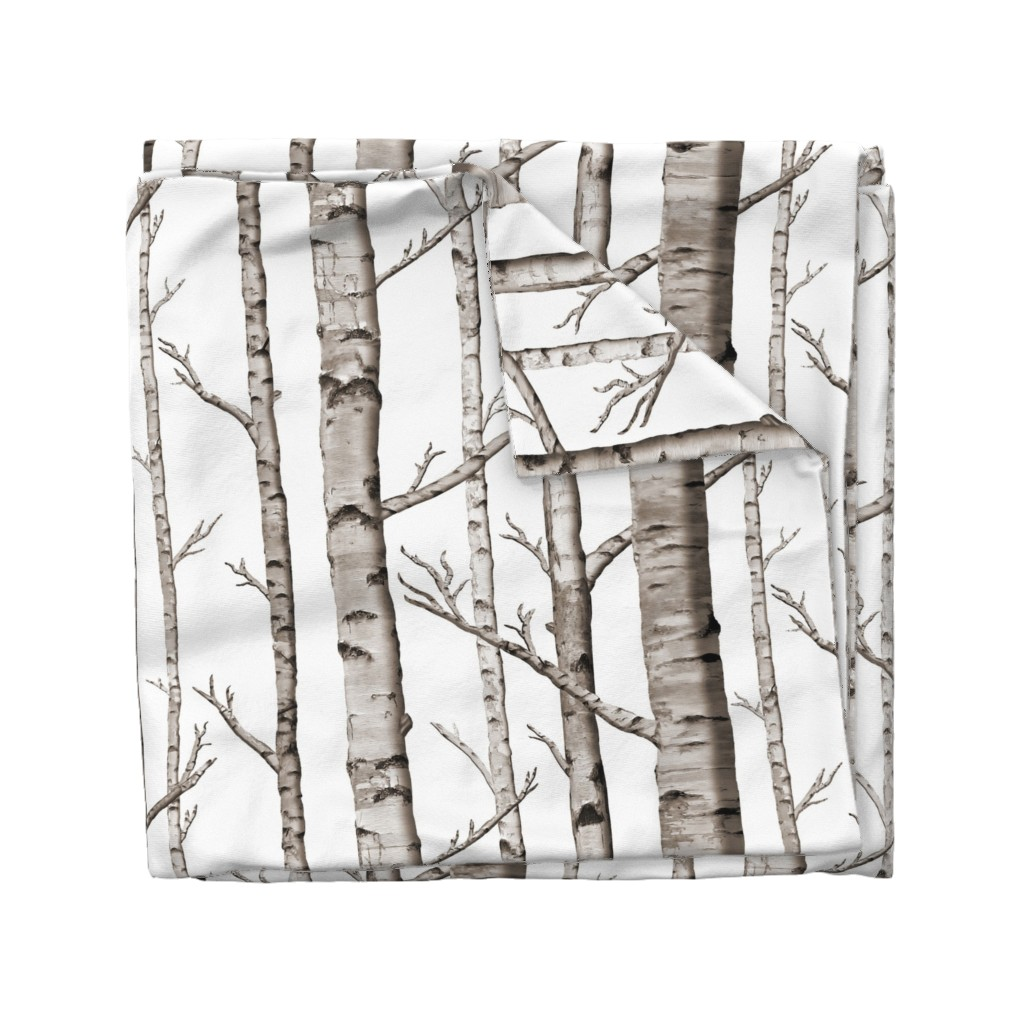 Wyandotte Duvet Cover featuring Birch Forest in Black and White by willowlanetextiles