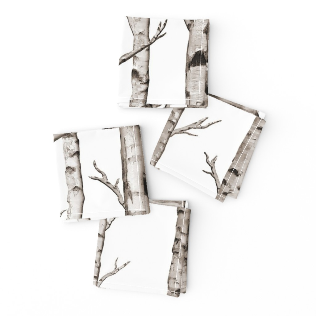 Frizzle Cocktail Napkins featuring Birch Forest in Black and White by willowlanetextiles