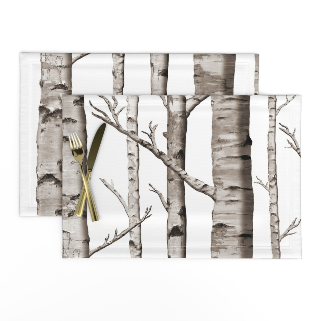 Lamona Cloth Placemats featuring Birch Forest in Black and White by willowlanetextiles