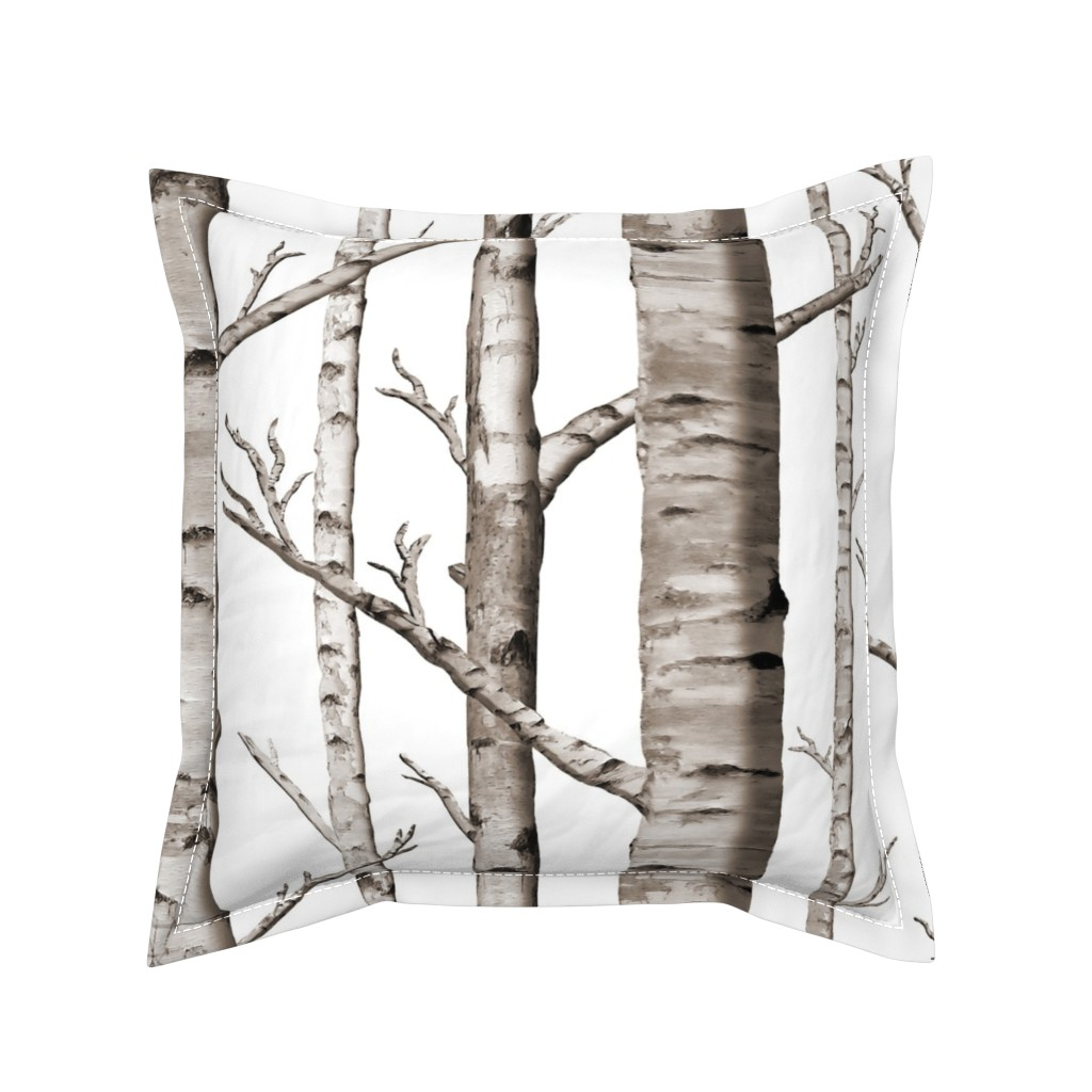 Serama Throw Pillow featuring Birch Forest in Black and White by willowlanetextiles