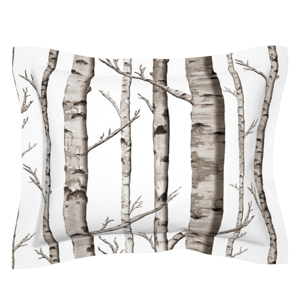 Sebright Pillow Sham featuring Birch Forest in Black and White by willowlanetextiles