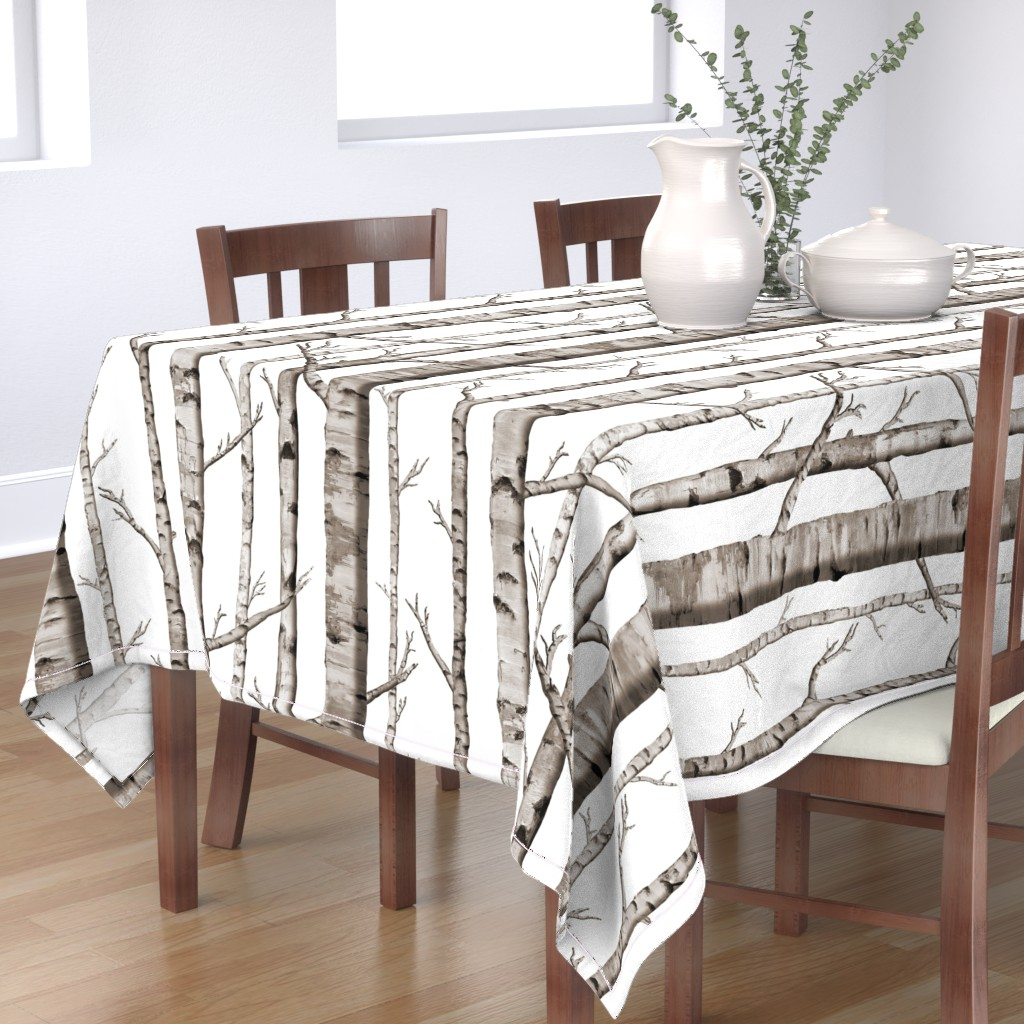 Bantam Rectangular Tablecloth featuring Birch Forest in Black and White by willowlanetextiles
