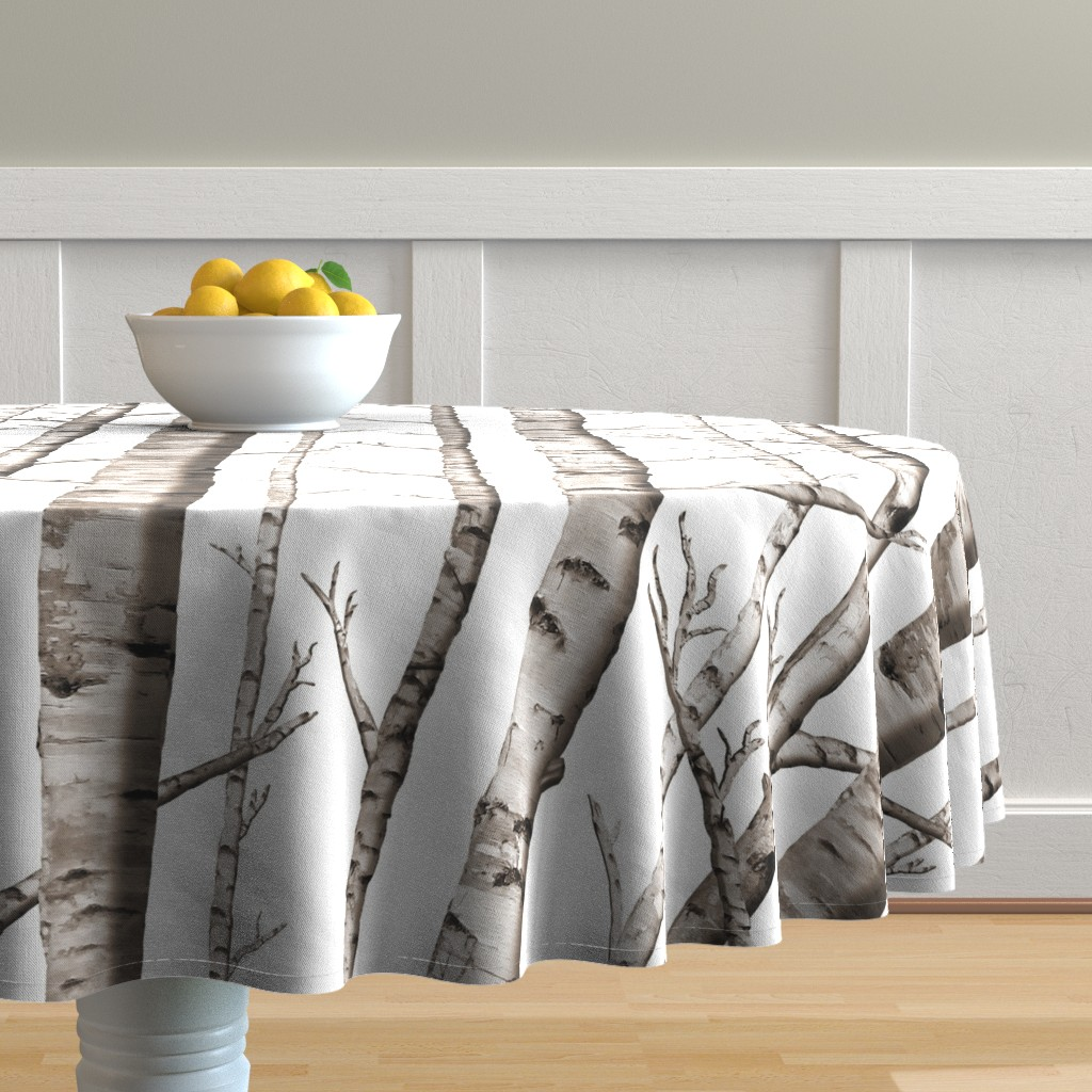 Malay Round Tablecloth featuring Birch Forest in Black and White by willowlanetextiles