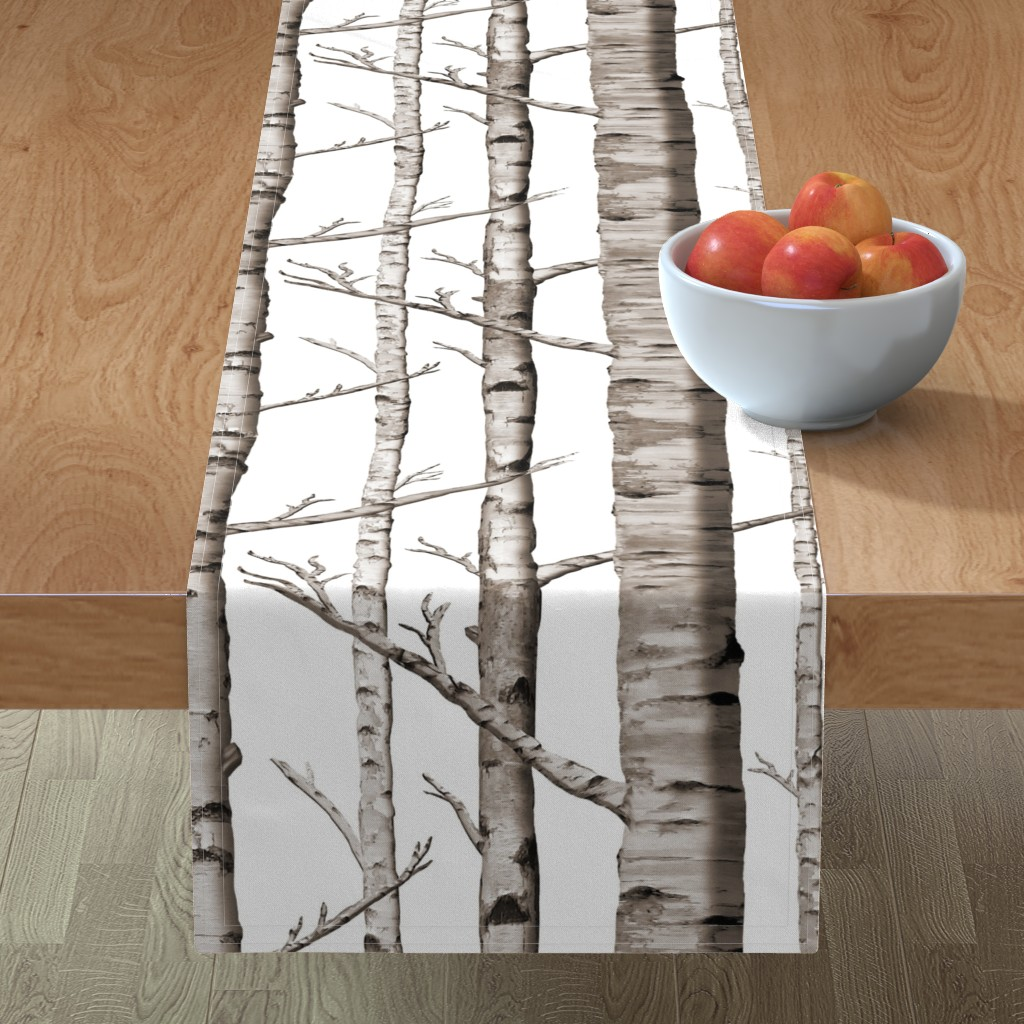 Minorca Table Runner featuring Birch Forest in Black and White by willowlanetextiles