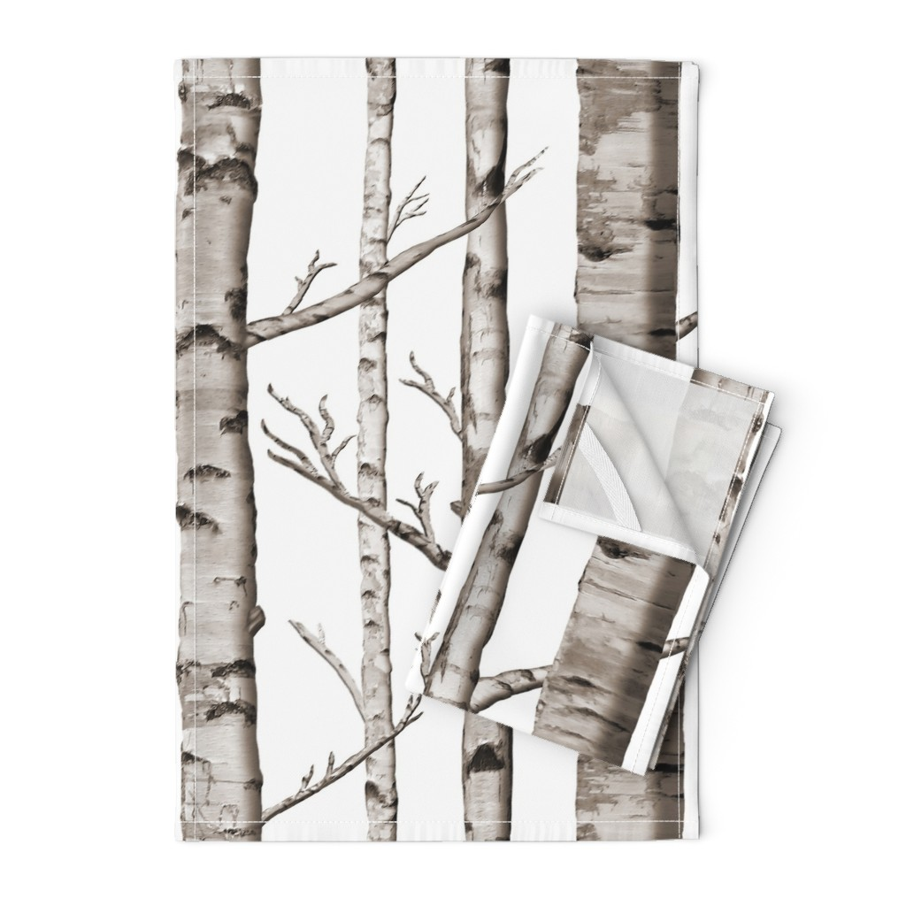 Orpington Tea Towels featuring Birch Forest in Black and White by willowlanetextiles