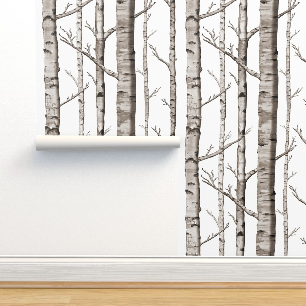 Isobar Durable Wallpaper featuring Birch Forest in Black and White by willowlanetextiles