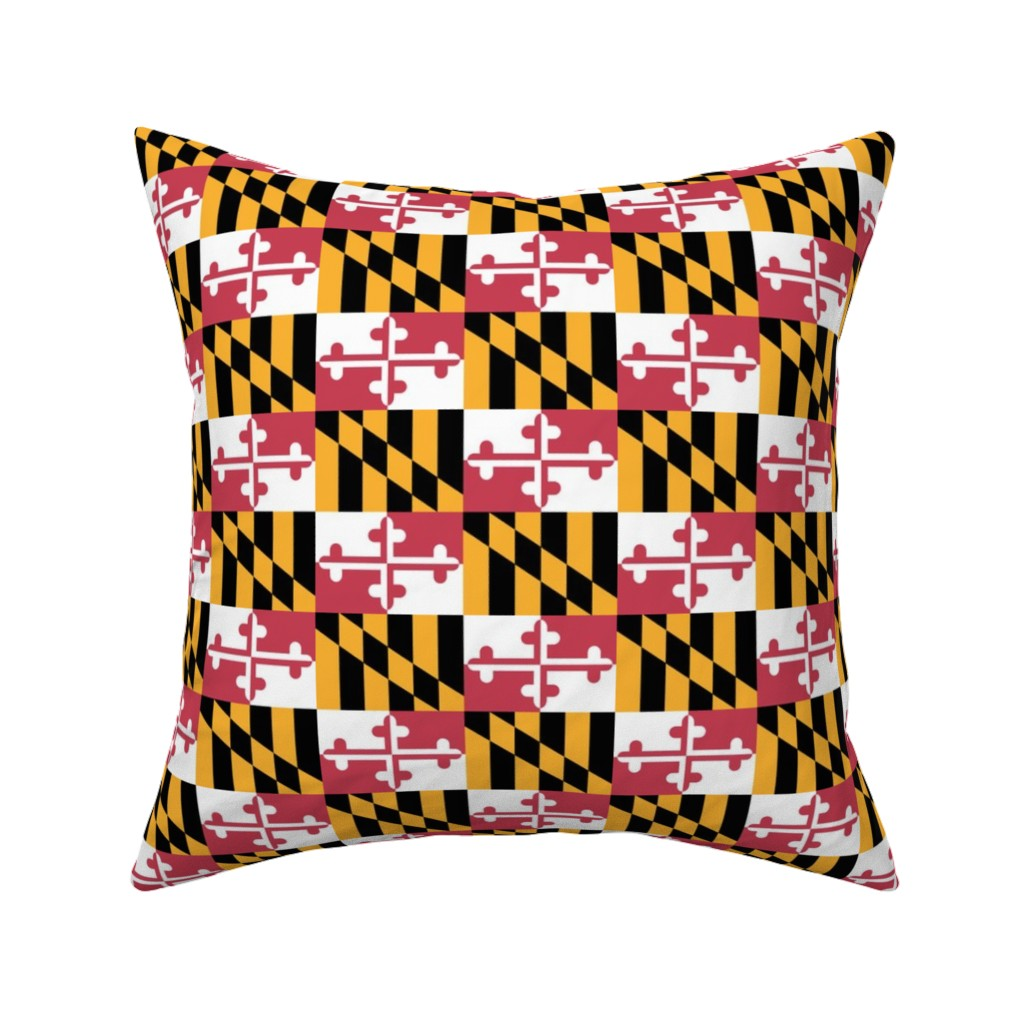 Catalan Throw Pillow featuring Small Maryland Flags - true color by elramsay