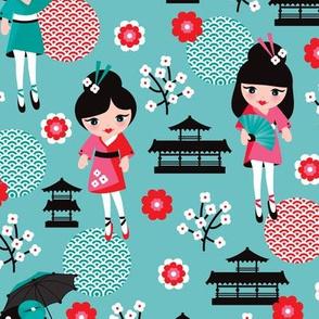 Fun japan geisha cherry blossom print