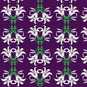 Easter Lillies on Purple