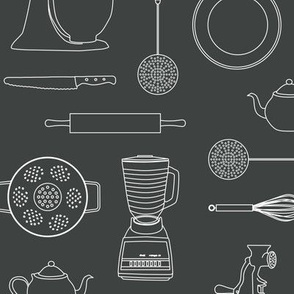 kitchen tools (white on dark gray)