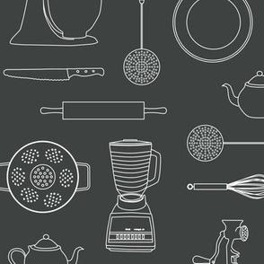 kitchen tools (white on dark gray)