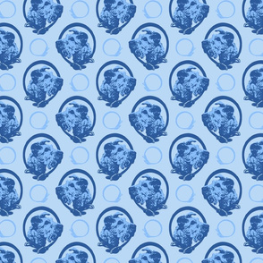 Collared Irish Terrier portraits - blue