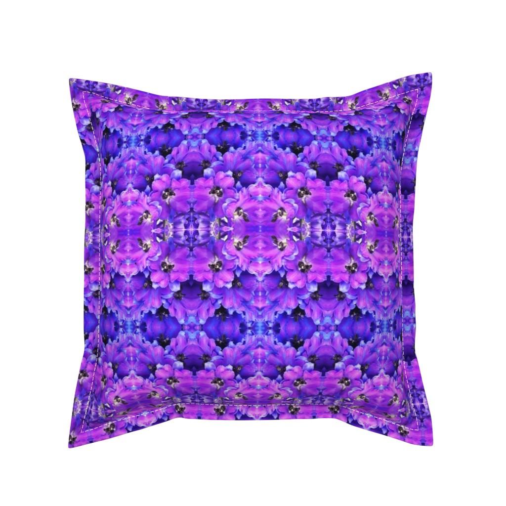 Serama Throw Pillow featuring flower_fields_7_a_intense_blue by susanprice