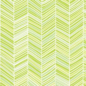 Herringbone Hues of Green - Medium Scale by Friztin