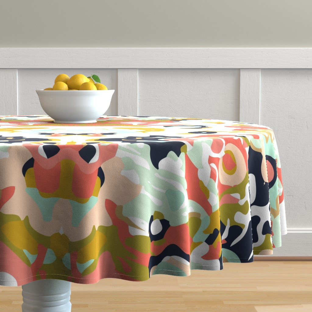 Malay Round Tablecloth featuring coral jubilee by ivieclothco