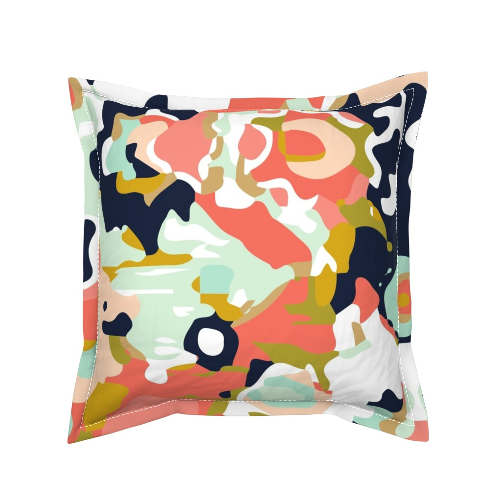 Serama Throw Pillow featuring coral jubilee by ivieclothco