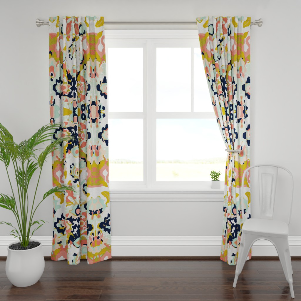 Plymouth Curtain Panel featuring coral jubilee by ivieclothco