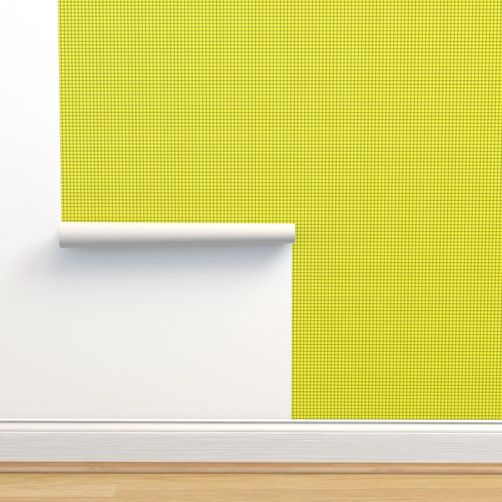 Isobar Durable Wallpaper featuring Black On Yellow Medium Grid by technoplastique