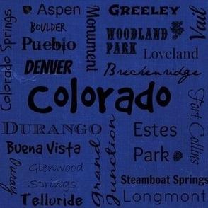 Cities of Colorado - blue