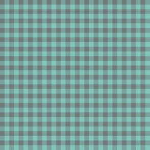 teal and grey gingham