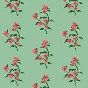 Watercolor Hearts Floral Vine Print Green