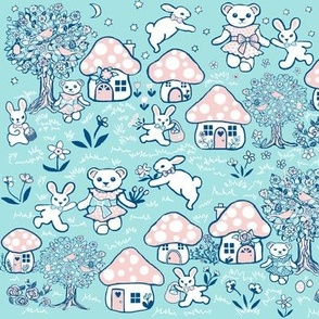 Pink and mint Forest, Rabbit and Bear/ Toadstool Forest