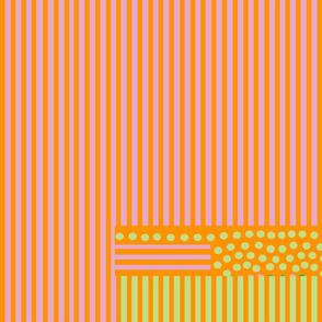 mauve orange stripes spots