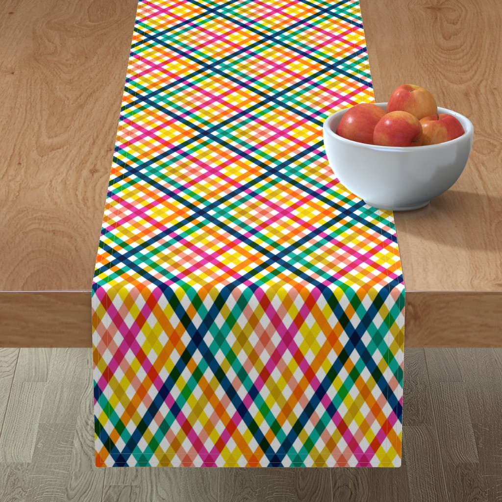 Minorca Table Runner featuring Birchdale (Multi) || gingham plaid cross diamonds stripe spring summer lattice rainbow by pennycandy