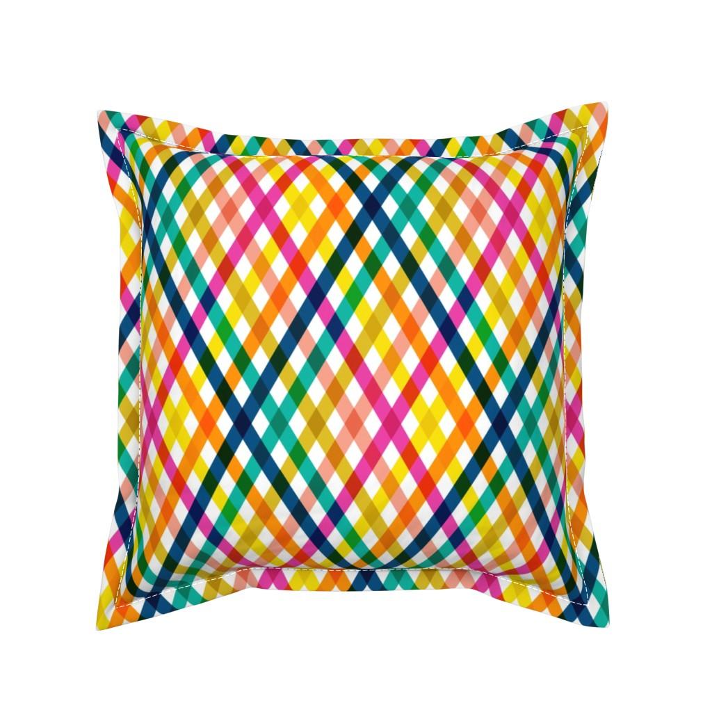 Serama Throw Pillow featuring Birchdale (Multi) || gingham plaid cross diamonds stripe spring summer lattice rainbow by pennycandy