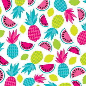 Tropical summer ananas retro fruit paradise colorful summer pineapple water melon