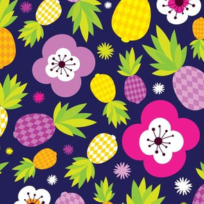 Tropical pineapple fruit paradise colorful  summer