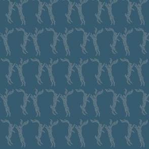 Boxing Hares (dark teal) small scale 3