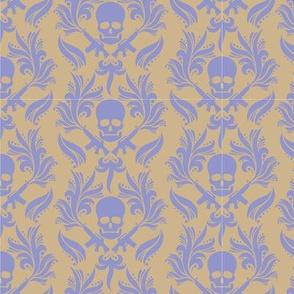 Violet Sand damask skulls