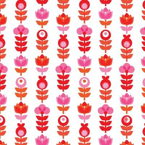Pink retro flowers pattern summer red