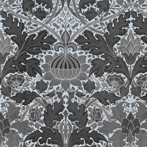 William Morris ~ St. James or Growing Damask ~ Grey on Versailles Fog