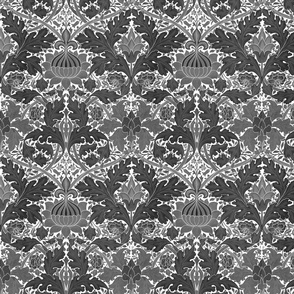 William Morris ~ St. James or Growing Damask ~ Black and White