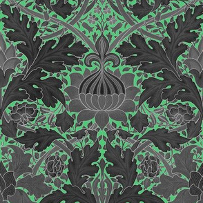 William Morris ~ St. James or Growing Damask ~ Paris Green and Black