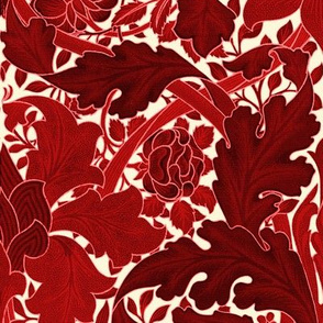 William Morris ~ St. JamesDamask ~ Red on Hameau