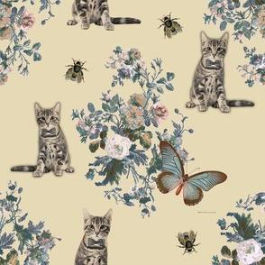 Cream Kitties Floral