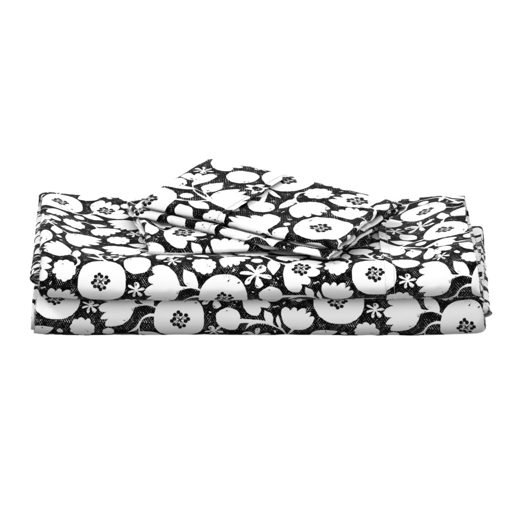 Langshan Full Bed Set featuring clear cut flowers - black and white floral by ottomanbrim