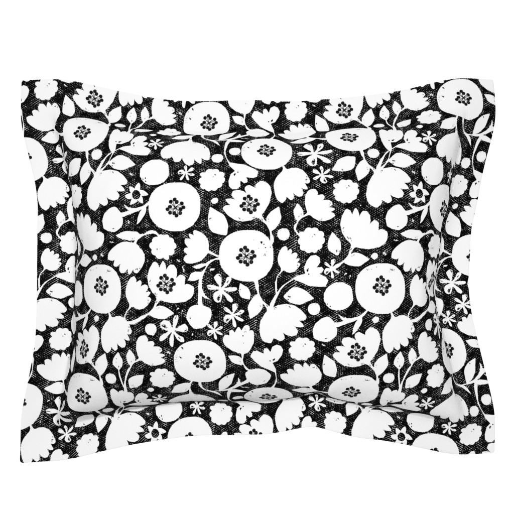Sebright Pillow Sham featuring clear cut flowers - black and white by ottomanbrim