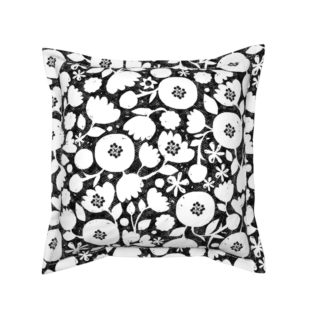 Serama Throw Pillow featuring clear cut flowers - black and white floral by ottomanbrim