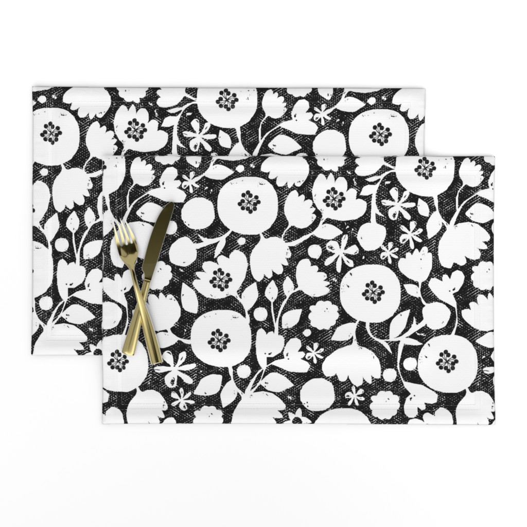 Lamona Cloth Placemats featuring clear cut flowers - black and white floral by ottomanbrim