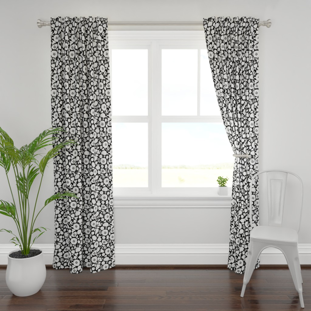 Plymouth Curtain Panel featuring clear cut flowers - black and white floral by ottomanbrim