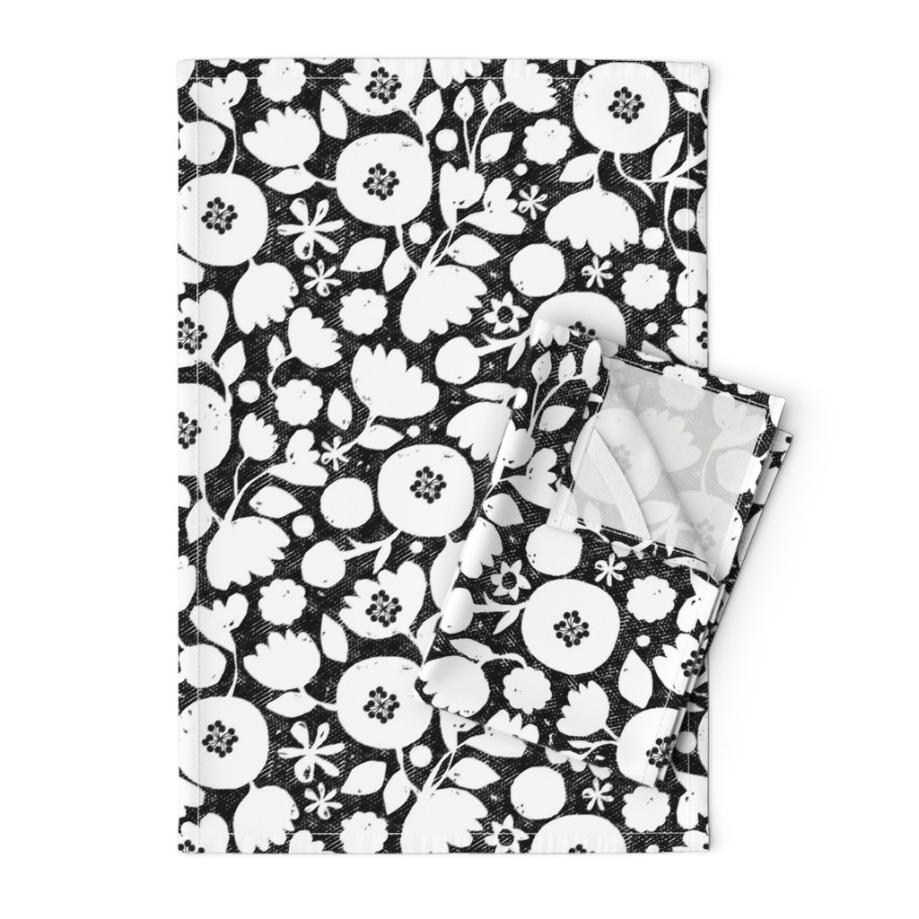 Orpington Tea Towels featuring clear cut flowers - black and white floral by ottomanbrim