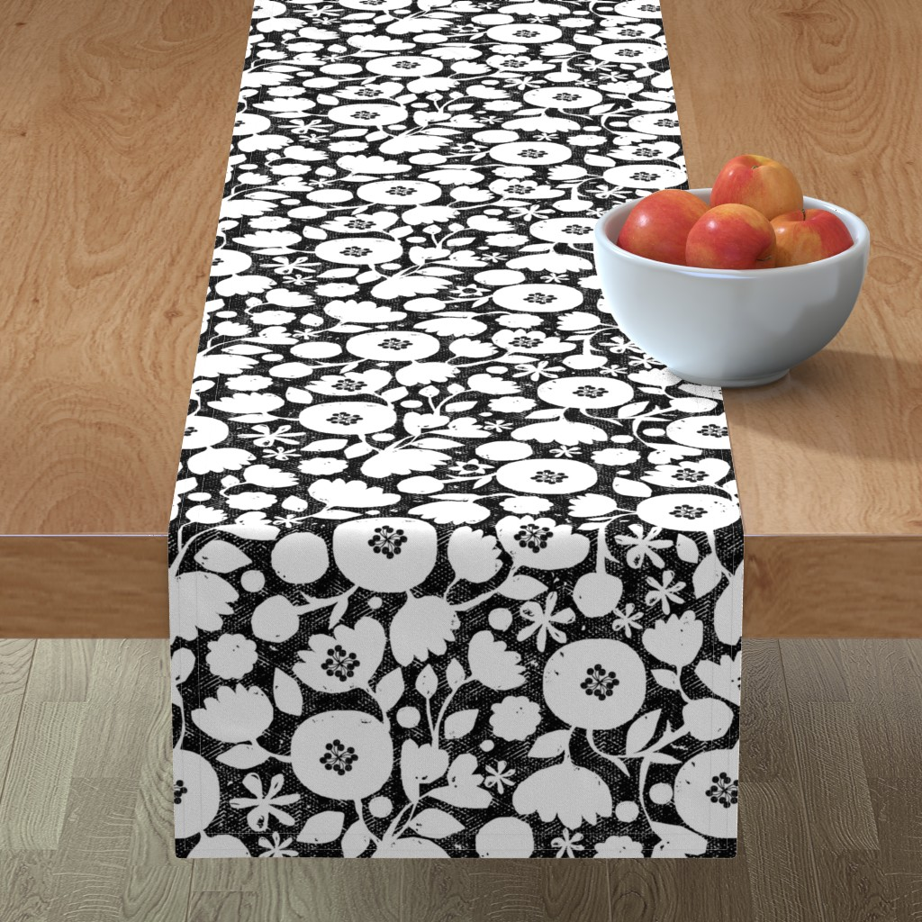 Minorca Table Runner featuring clear cut flowers - black and white floral by ottomanbrim