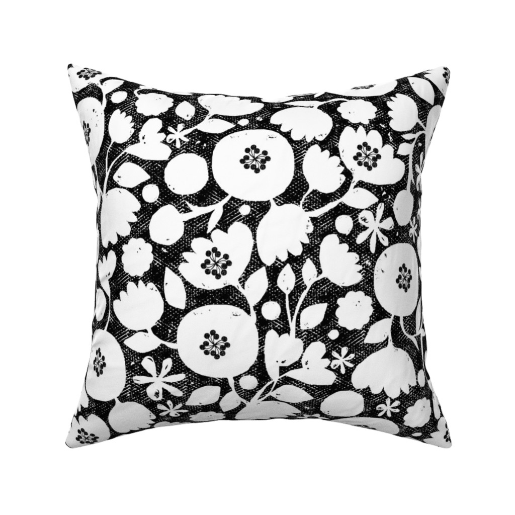 Catalan Throw Pillow featuring clear cut flowers - black and white by ottomanbrim
