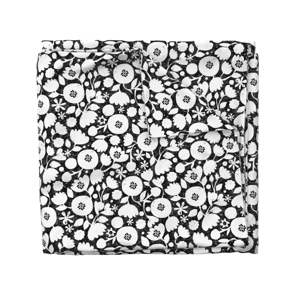 Wyandotte Duvet Cover featuring clear cut flowers - black and white by ottomanbrim