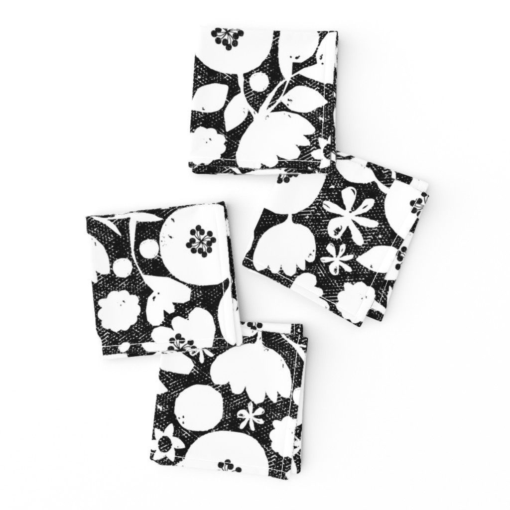 Frizzle Cocktail Napkins featuring clear cut flowers - black and white by ottomanbrim